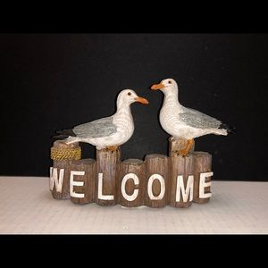 Other - Nautical Decor Seagulls on Pilings Welcome Sign